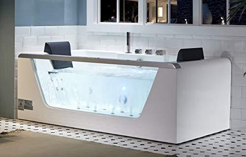 EAGO AM196ETL 6' Clear Rectangular Acrylic Whirlpool Bathtub for Two White - Whirlpool 6' Bath