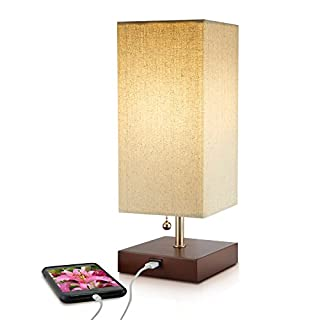Modern Small Wood Table Lamp, USB Port For Phone Charging, Convenient Pull  Chain,
