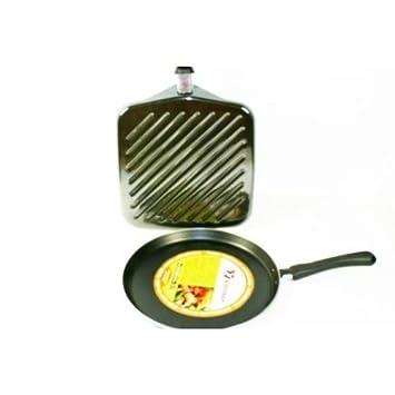 Vitrinor - Juego de 2 sartenes Poele a Crepe + Grill negra email inducción a03-as27-cr28-noire: Amazon.es: Hogar