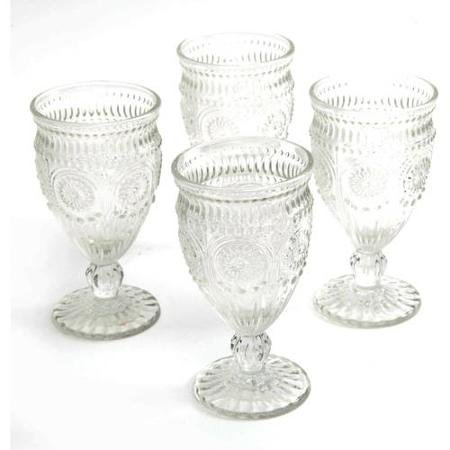 The Pioneer Woman Adeline Embossed 12-Ounce Footed Glass Goblets, Set of 4 (Clear) by The Pioneer Woman (Image #1)
