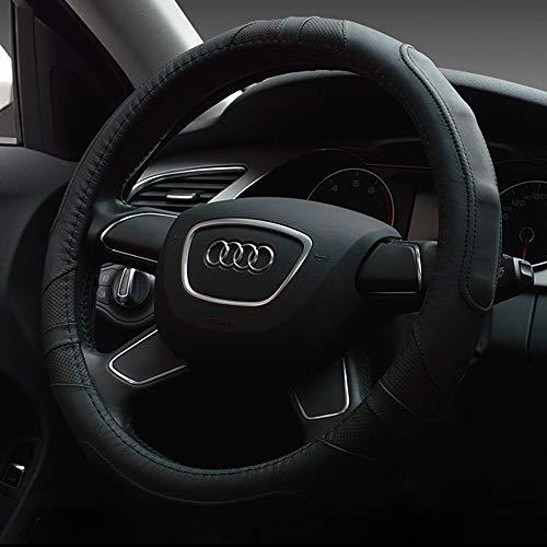 (DC Steering Wheel Cover Anti-Slip Genuine Leather 38cm/15inch (Black-Black))