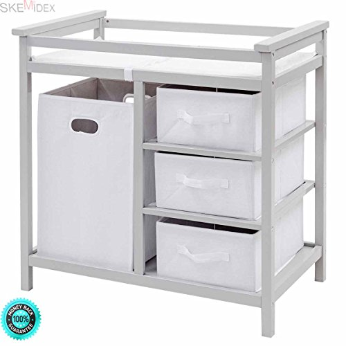 SKEMiDEX---Gray Infant Baby Changing Table w/3 Basket Hamper Diaper Storage Nursery New This Baby Changing Table keeps everything tidy and concealed for a clean look in the nursery by SKEMiDEX