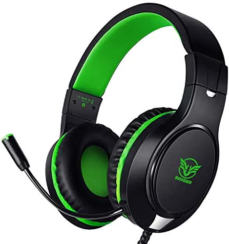 Karvipark H-10 Gaming Headset for Xbox One/PS4/PC/Nintendo Switch Noise Cancelling,Bass Surround Sound,Over Ear,3.5mm Stereo Wired Headphones with Mic for Clear Chat (Green)