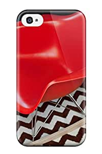 Tpu Case Skin Protector For Iphone 4/4s Molded Plastic Red Rocker On Black And White Herringbone Rug With Nice Appearance
