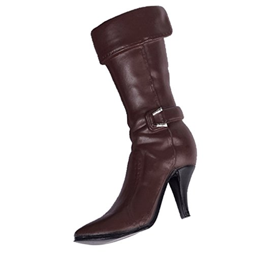 MagiDeal 1:6 Brown Mid-calf Boots High Heeled Boots Shoes for 12'' Phicen Female Body