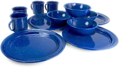GSI Outdoors Sierra 12 Piece Blue Enable Table - Enamelware Set Dinnerware