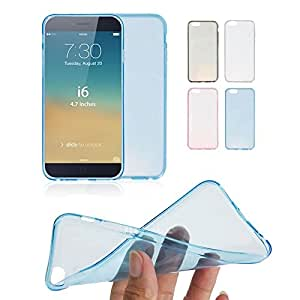 Walsontop™ Ultra Thin Crystal Clear Soft TPU Cover Case Skin Rubber Silicone Gel Shell for Apple iphone 6 (4.7 inch screen) (Blue)