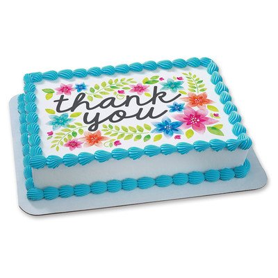Thank You Flowers Edible Icing Image for 1/4 sheet cake