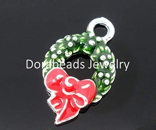 VietNewYear Pendants - Lovely 10PCs Silver Plated Enamel Christmas Wreath Charm Pendants Findings 2515mm (B04624) 1 PCs