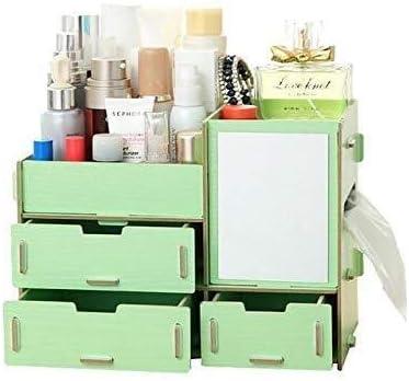 XWYSSH主催 ミラー木製ジュエリー収納ケース付き化粧ストレージ化粧品メイクアップ収納ボックスオーガナイザーバッグ XWYSSH (色 : 緑)