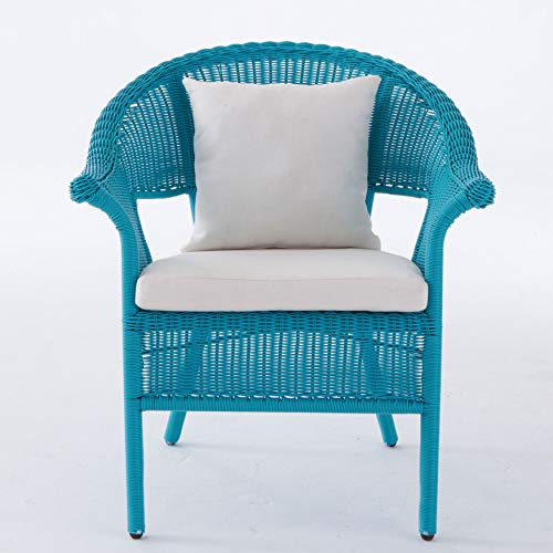 BrylaneHome Roma All-Weather Wicker Stacking Chair - Pool (Blue Chairs Wicker Dining)