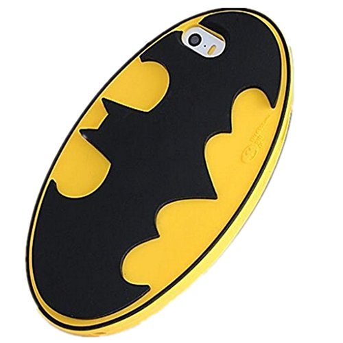 [iBee dc Knight of Gotham Black Bat Logo in Yellow Oval Classic Style Arkham City Super Hero 3D Silicone Case for iphone5 5s By Asia] (Gotham Costumes)