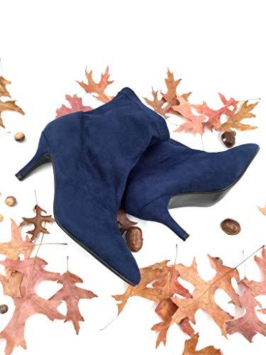 Haut on Mode Talon Cm Souple Slip Angkorly Aiguille Bottine Chaussure 7 Femme Marine Bleu Tendance wzHcw5Xaq