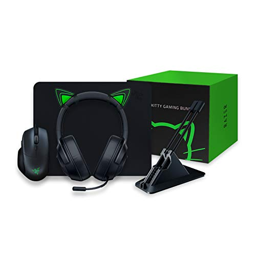 Razer Kitty Gaming Bundle with Basilisk Essential, Kraken X Lite, Goliathus Mobile Stealth, Mouse Bungee V2 and Kitty Ears