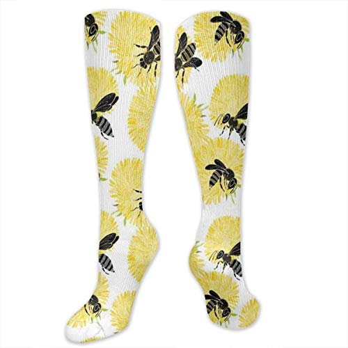 Compression Socks,Bees And Dandelion Flowers In Nature Detail Theme On White Background Print