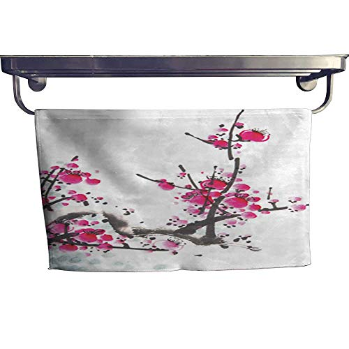 warmfamily Beach Towels Chinese Watercolor Cherry Painting Towel W 14