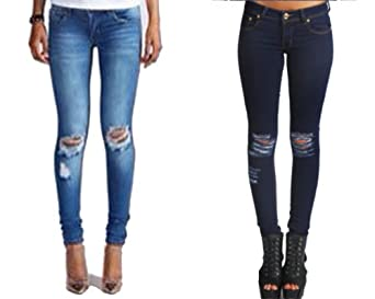 WOMENS LADIES SKINNY FIT RIPPED JEANS DENIM AND DARK BLUE SIZE 8