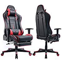 GTracing Gaming Chair Heavy Duty Office Chair with Footrest E-sports Chair for pro gamer Ergonomic Seat Height Adjustable Multifunction Recliner with Headrest and Lumbar Support Pillow GT901 from GTRACING