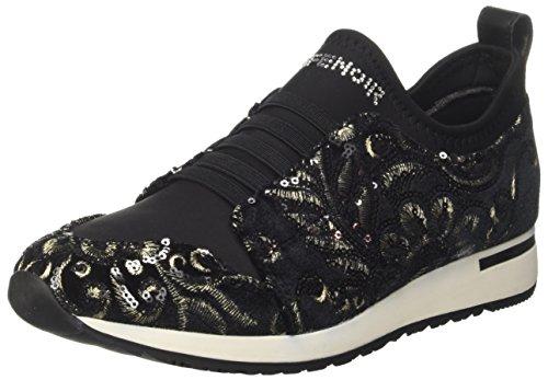 LDL901 CAFE ricami sneakers NOIR TESSUTO pailettes inverno elasticizzata NERO 2018 donna Negro FFfRn84