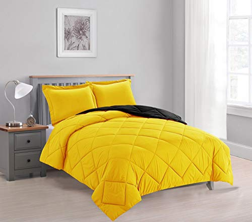 - Empire Home 3-PC Reversible Down Alternative All Season Comforter Set with (Yellow/Gray, Twin Size)