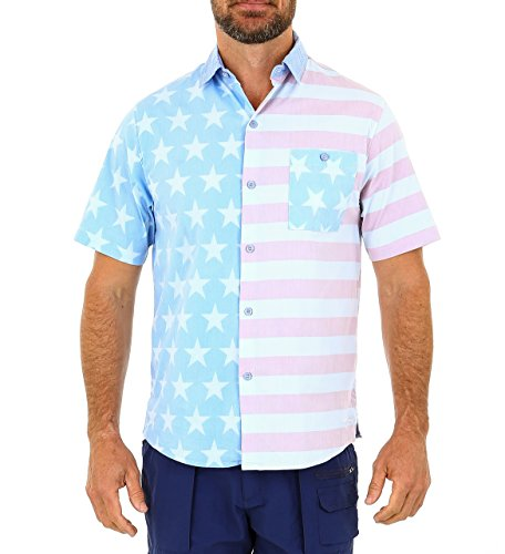 UZZI Mens Hawaiian Casual Button Down Short Sleeve Beach Surf Aloha Party Shirt