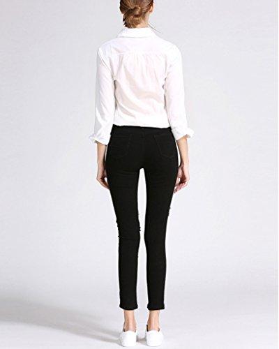 Stretch Taille Femme Printemps Collant Pantalon Trou Jeans Longues Slim Moulant Noir Crayon Leggings Haute Minetom Skinny tFfXTwqw