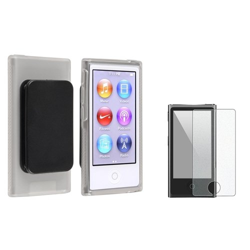 Everydaysource Compatible with Apple iPod nano 7th Generation Clear TPU Rubber Case & Belt Clip with FREE Colorful Diamond LCD Cover B556884