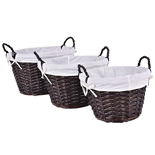 Giantex Set of 3 Hand-woven Willow Wicker Storage Basket With White Lining (Round)