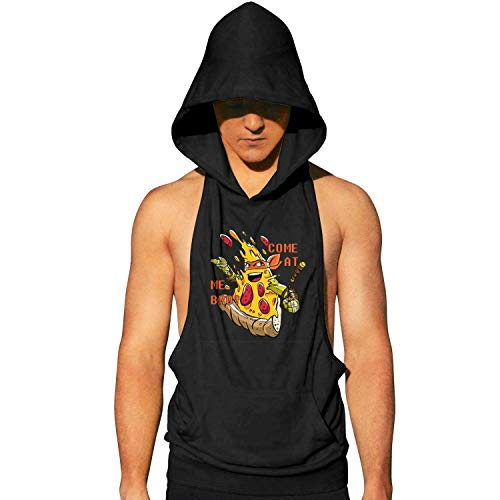 MenNinja Stars Pizza comeat me broo Summer Sleeveless Tank Sports Hoodie Hooded Vest Quick Dry Sport Gym ()