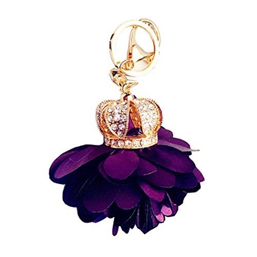 Crown Key Pendant (SNUG STAR Key Chains Crown Flower Petal Diamond Handmade Pendant Car Hanging Keychain for Bag (Purple))