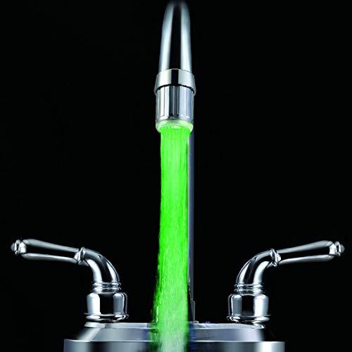 Batterie Glow LED Lumi/ère du robinet deau changeant Glow Capteur de temp/érature Pommeau de douche Robinet de cuisine A/érateurs Argent