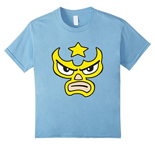 90's Wrestlers Costumes (Kids Luchador Love Yellow Mask Cartoon Face Graphic T-Shirt 8 Baby Blue)