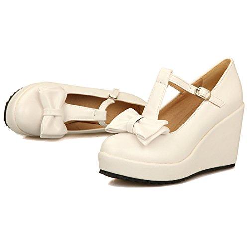 AIYOUMEI Damen Plateau Keilabsatz T-Spange Pumps mit Schleife und Schnalle Bequem Schuhe Weiß