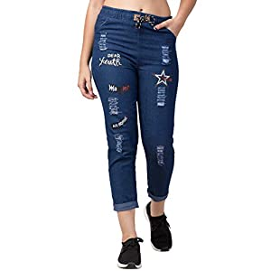 FUNDAY FASHION Women's Boyfriend fit Denim Jogger