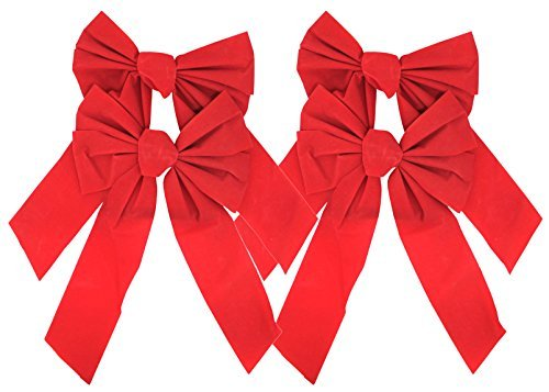 Red Velvet Bow 9-Inch By 16-Inch 4-Pack