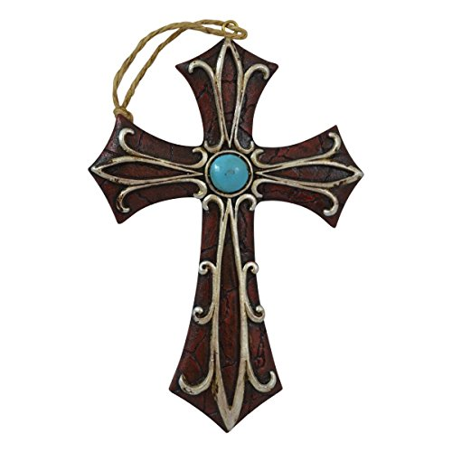 Pine Ridge Cross Ornament Display Western Accent with Turquoise Centerpiece - Rustic Religious Hanging Cross Ornaments for Christian Tree - Vintage Christening Baptism Favors (4