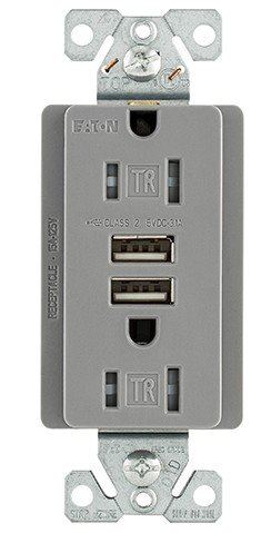 Cooper TR7755GY-BOX Commercial Spec Grade Comb USB - Box Cooper Wiring Spec