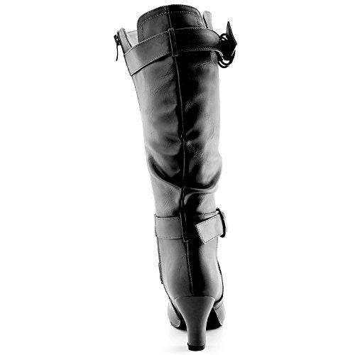 """Dailyshoes Damen Slouchy Mid Calf Riemchen Stiefel mit Knöchel und Top Straps - 2 """"Heel Fashion Boots Schwarz Pu W / Seitentasche"""
