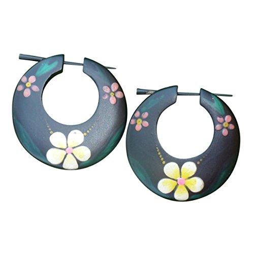 ribal Organic Handpainted Earrings Fake Plugs Illusion Tapers Sold AS Pair 08 (Handpainted Jungle Flower) ()