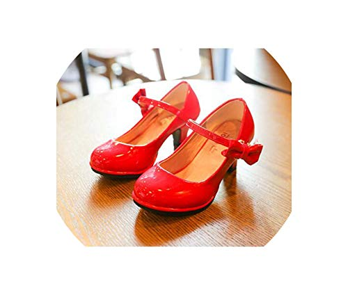 - Girls Flat Shoes Pu Leather Dancing Shoes for Medium Kids with High Heel Princess Children Single Shoes,Red,1