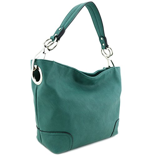 Women's Hobo Shoulder Bag with Big Snap Hook Hardware Green