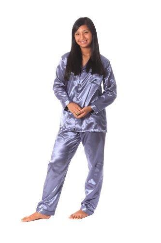 Soft Dreams Womens Brushed Back Satin Pajamas at Amazon Womens