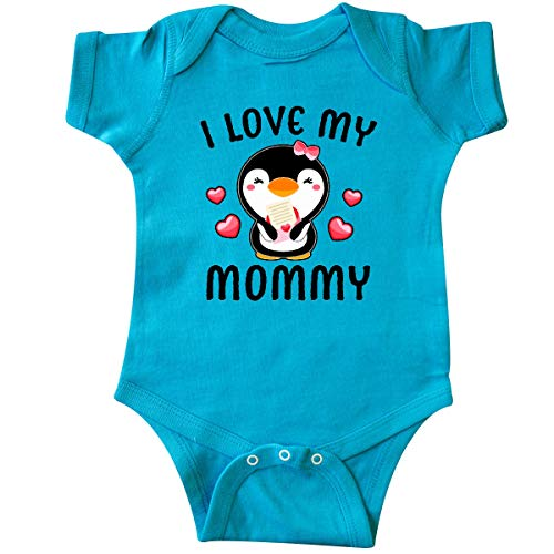 inktastic I Love My Mommy with Cute Penguin Infant Creeper 12 Months Turquoise
