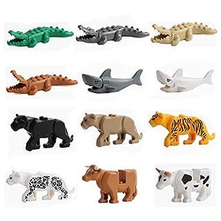 12PCS/Set City Animals Building Blocks Zoon Minifigures Figures Model Crocodile Shark Cow Educational Toys Compatible Major Block