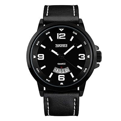 BesWLZ Mens Unique Analog Quartz Casual Business Wrist Watch with PU Leather Black Band StraCalendar Date Window 30M Waterproof