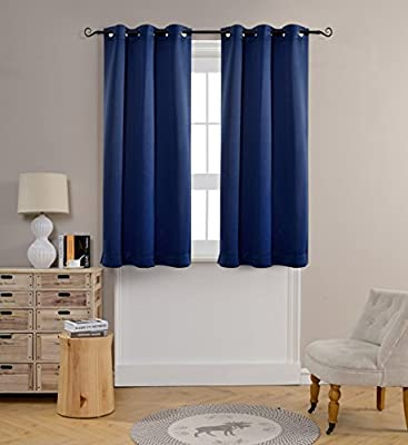 Mysky Home Solid Grommet top Thermal Insulated Window Blackout Curtain, 42 inch (1 panel)