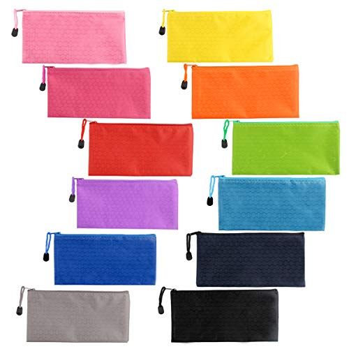 24pcs 12 Colors Zipper Waterproof Bag Pencil Pouch for Cosmetic Makeup Office Supplies and Travel Accessories (12 Colors, A6)