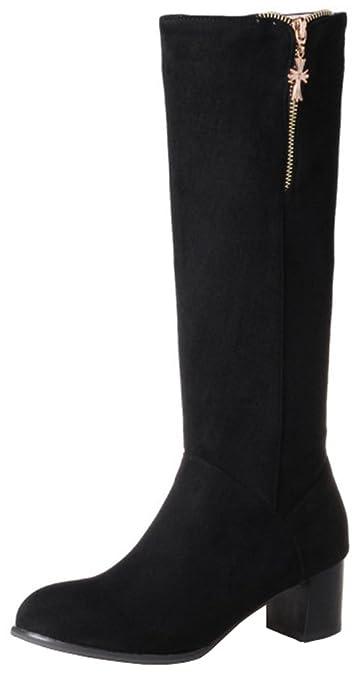 Women's Trendy Block Medium Heel Round Toe Faux Suede Side Zipper Under The Keen High Riding Boots