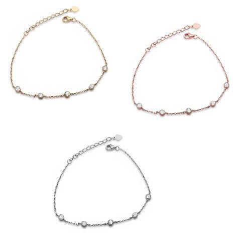 OMEGA DIAMOND CO Yellow,Rose,Silver 5 Bezel Set Cz 925 Sterling Silver Chain Link Lobster-Claw Bracelet (Sterling-Silver)