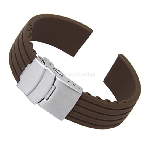 Men's Coffee Silicone Rubber Watch Strap Band Deployment Buckle Waterproof 20mm